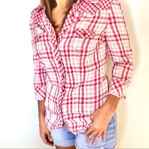 Guess red and white checkered button up shirt